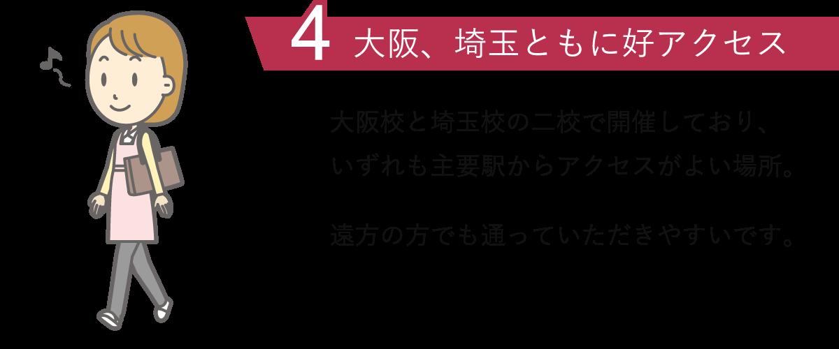 理由4.東京、大阪ともに好アクセス:東京校と大阪校の二校で開催しており、いずれも主要駅からアクセスがよい場所。遠方の方でも通っていただきやすいです。